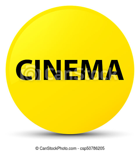 Cinema yellow round button - csp50786205