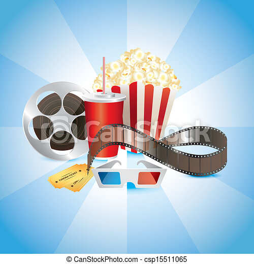cinematograph, film, popcorn, cola, and 3D glasses - csp15511065