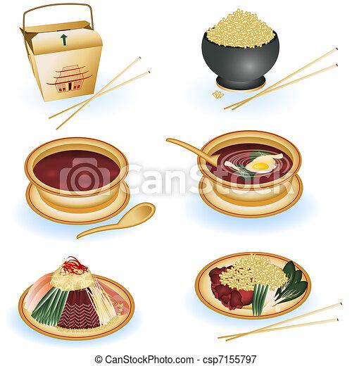 cinese cibo, collezione - csp7155797