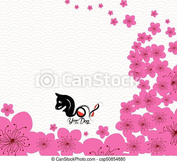 cinese, fiore, prugna, cane, anno, 2018., nuovo - csp50854880