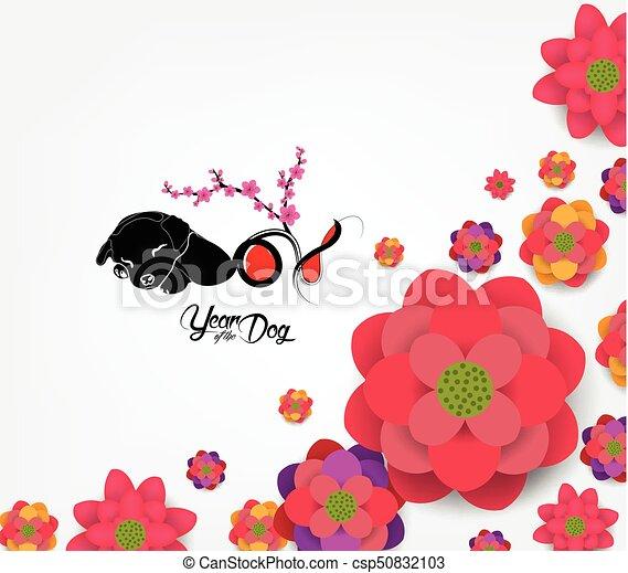 cinese, fiore, prugna, -, cane, fondo., 2018, anno, nuovo - csp50832103
