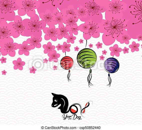cinese, fiore, prugna, -, cane, fondo., 2018, anno, nuovo - csp50852440