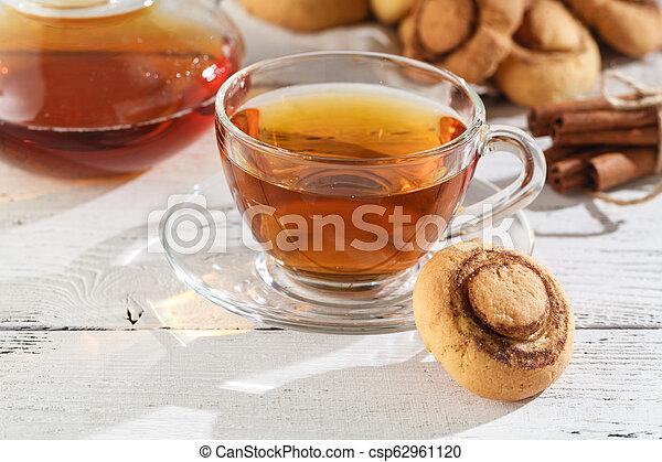 Cinnamon cookies with tea - csp62961120