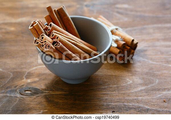 cinnamon in a bowl - csp19740499