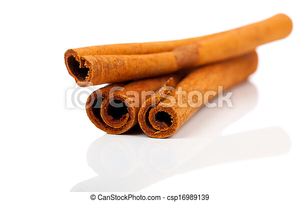 cinnamon isolated on white background - csp16989139