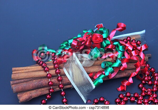 Cinnamon stcks with red beads for Chrstmas - csp7314898