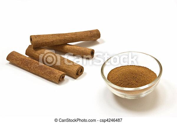 Cinnamon sticks and ground cinnamon - csp4246487