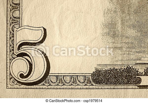 cinq, note, dollar - csp1979514