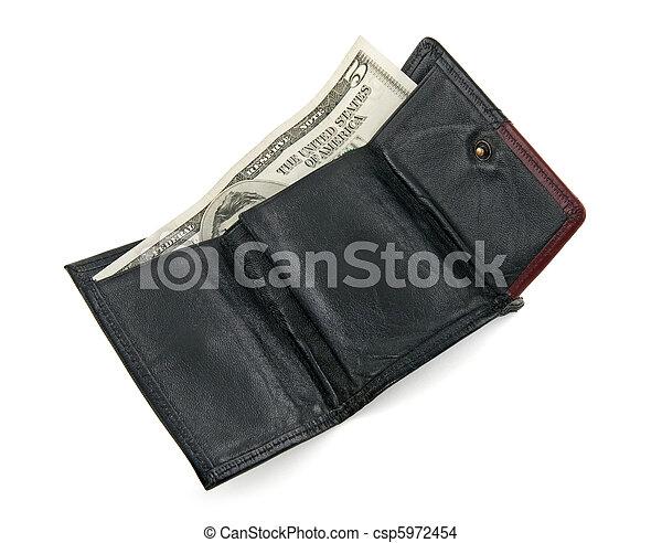 cinq, portefeuille, note, dollar - csp5972454