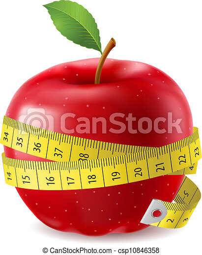 Manzana roja y cinta adhesiva - csp10846358