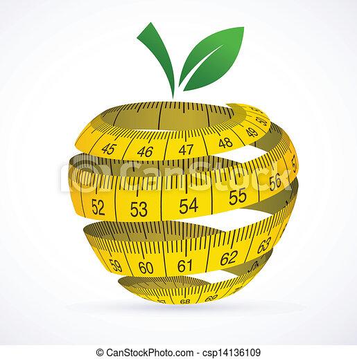 cinta medición, símbolo, manzana, dieta - csp14136109