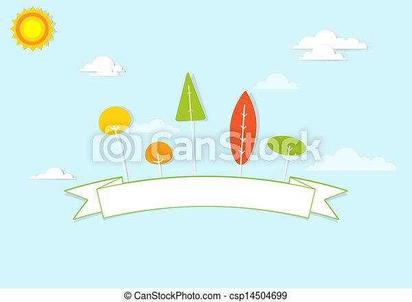 Árboles coloridos y una cinta en las nubes - csp14504699