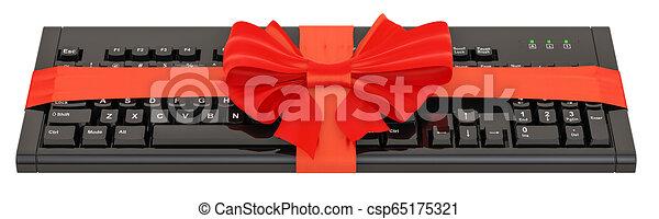 Teclado con arco y cinta, concepto de regalo. 3D - csp65175321