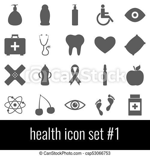 cinzento, 1., jogo, ícones, experiência., branca, ícone, health. - csp53066753