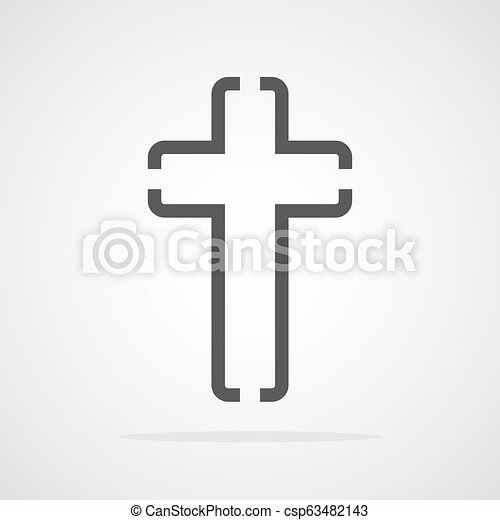 cinzento, cristão, illustration., crucifixos, vetorial, icon. - csp63482143