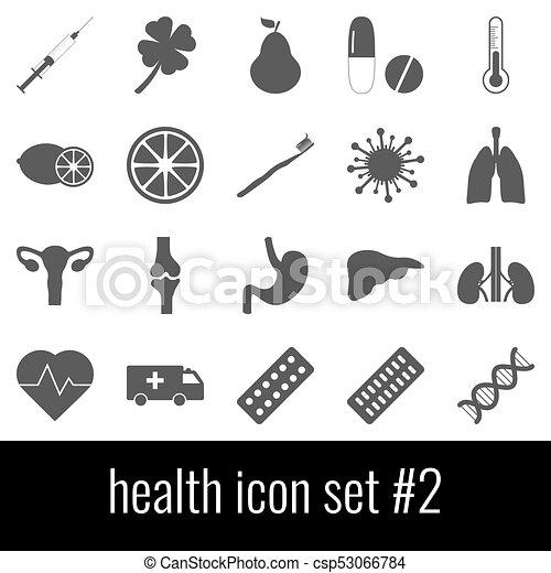 cinzento, jogo, ícones, experiência., 2., ícone, branca, health. - csp53066784