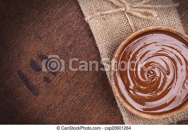 cioccolato, ciotola, crema - csp20601264