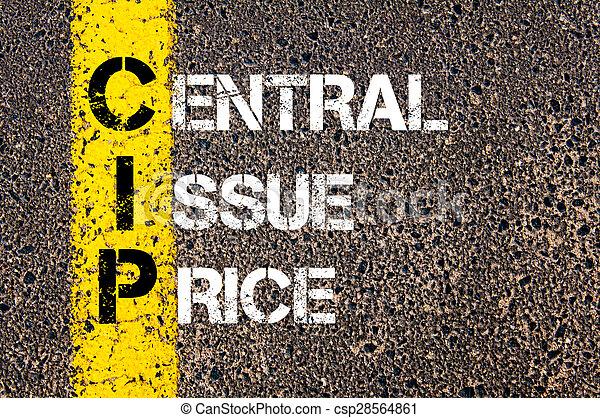 cip, 頭字語, 価格, 中央である, ビジネス, 問題 - csp28564861