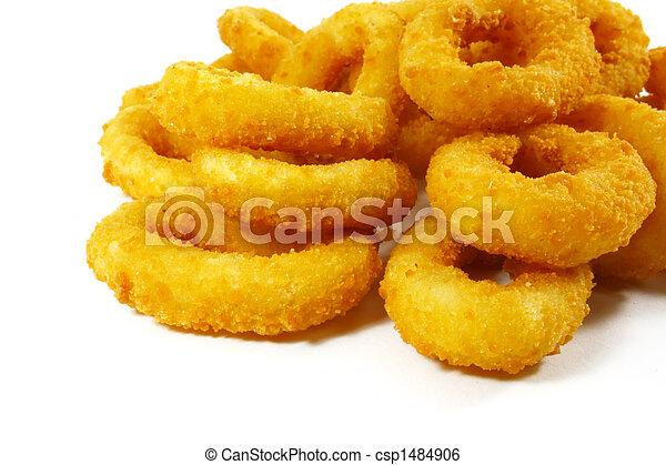 cipolla, cibo, anelli, digiuno, popolare, piatto, pietanza, lato - csp1484906