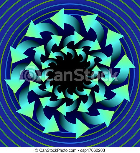 Circle abstract object composed of blue rotating arrows on light purple  background, optical art object