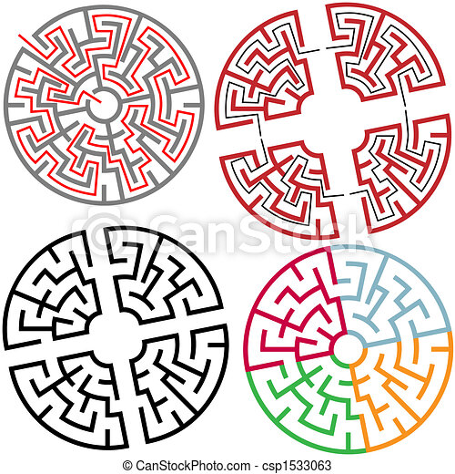 Circle and Arc Maze Puzzle Parts with solution - csp1533063