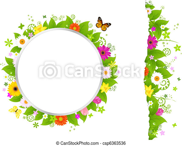 Circle And Border From Flowers - csp6363536
