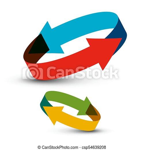 Circle Arrows. Double Vector Arrow. - csp54639208