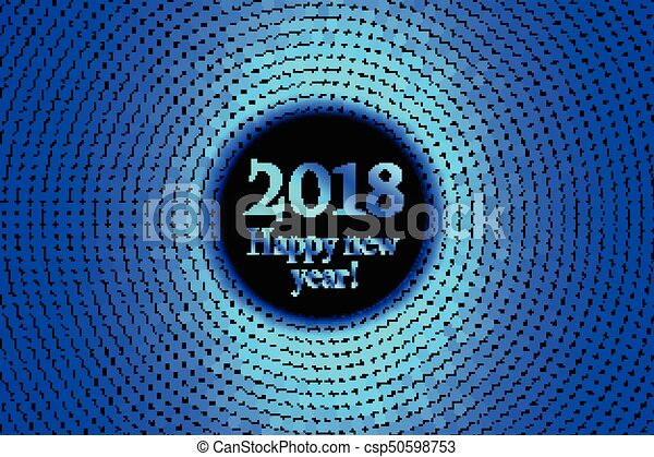 circle banner with year 2018 label happy new year theme with scattered colorful dots vector illustration