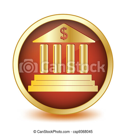 Circle button with symbol of the bank inside. Vector - csp9368045