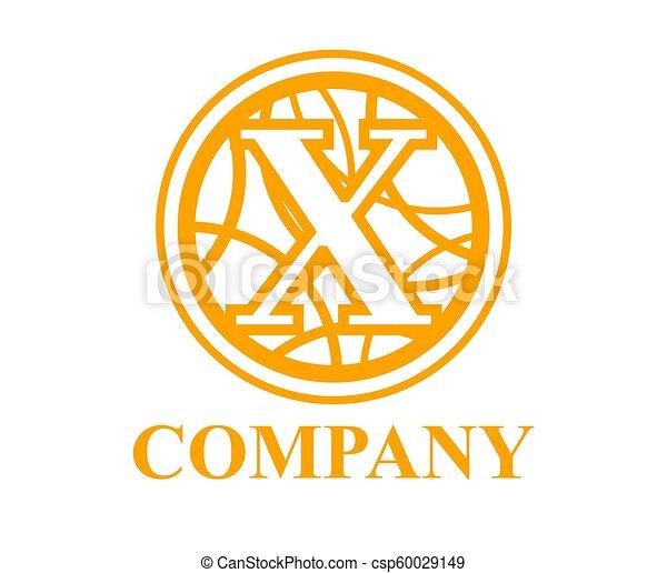 Circle Curvy X Orange Color Logo Symbol Type Letter X Initial