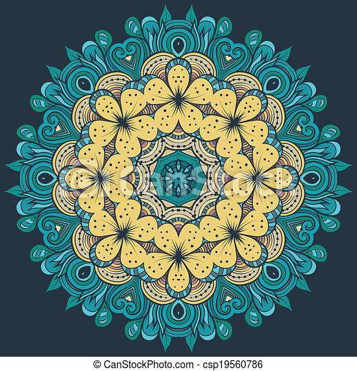 Circle decorative floral ornament rosette - csp19560786