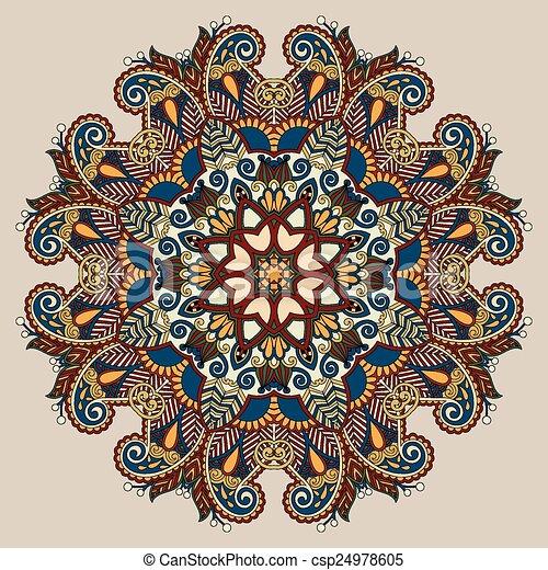 circle decorative spiritual indian symbol of lotus flower - csp24978605