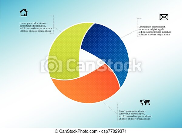 Circle divided to three parts filled by color patterns - csp77029371