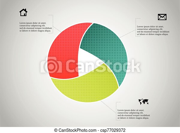 Circle divided to three parts filled by color patterns - csp77029372