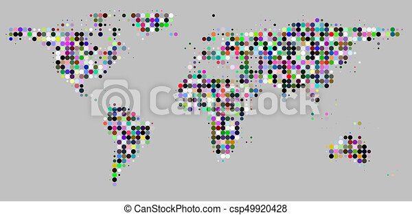 Circle dots grid pattern world map on gray world map with circle circle dots grid pattern world map on gray csp49920428 gumiabroncs Gallery