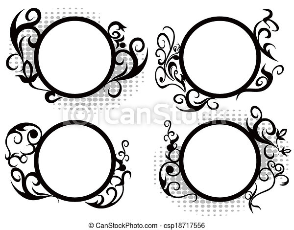Circle floral frame decoration - csp18717556