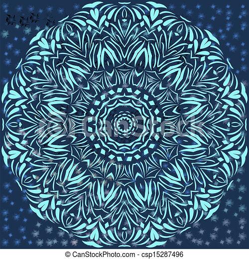 Circle floral ornament. - csp15287496