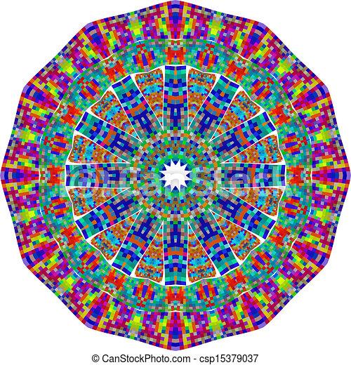 Circle floral ornament - csp15379037