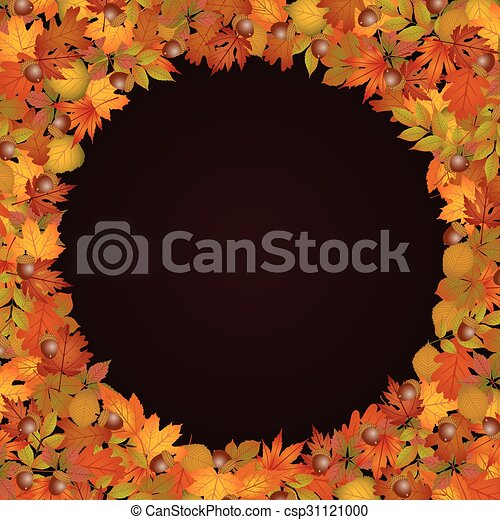 Circle frame made of autumn leaves - csp31121000