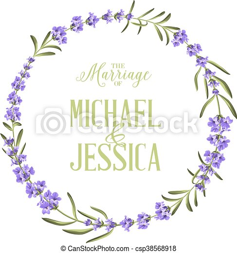 Circle Frame Of Flowers Circle Frame Of Lavender Flowers Simple Marriage Invitation Custom Text With Names Of Michael And Canstock
