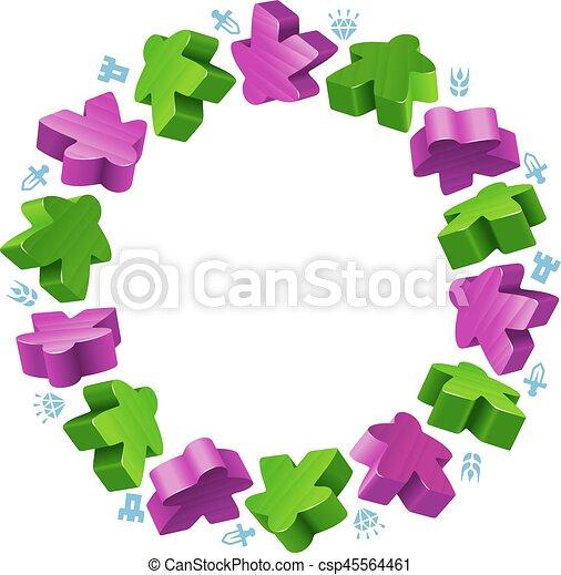 Circle frame of meeples - csp45564461