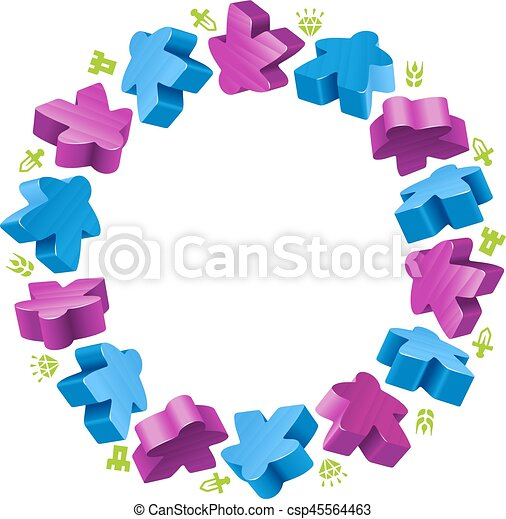 Circle frame of meeples - csp45564463