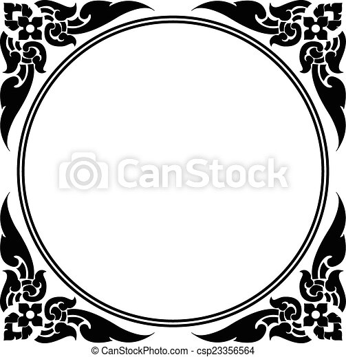 circle frame of Thai pattern - csp23356564