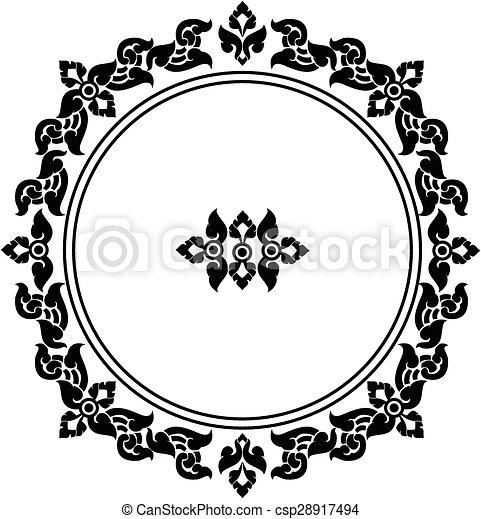 circle frame of Thai pattern - csp28917494