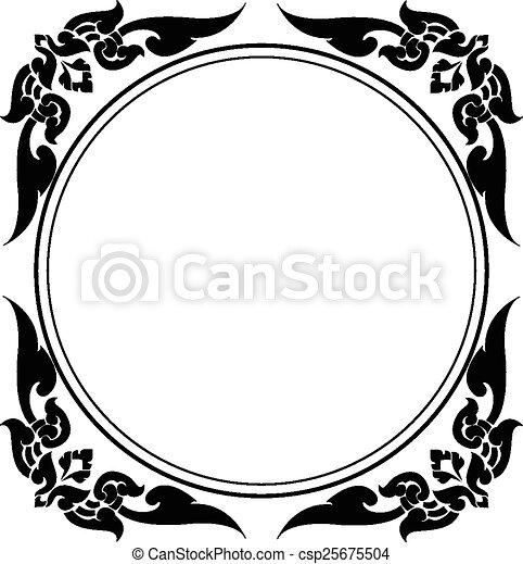 circle frame of Thai pattern - csp25675504