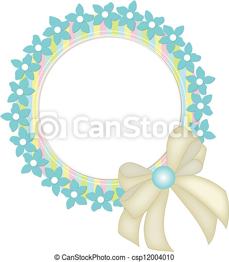 Circle frame with flowers and ribbo - csp12004010