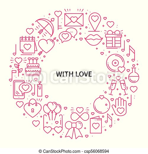 Circle Frame With Love Symbols In Line Style Love Couple