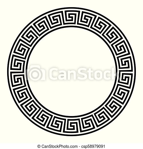 Circle Frame With Seamless Meander Pattern Meandros A
