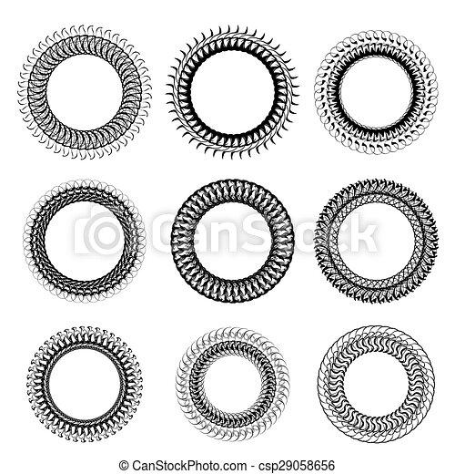 Set of decorative circle frames isolated on white backgrond.