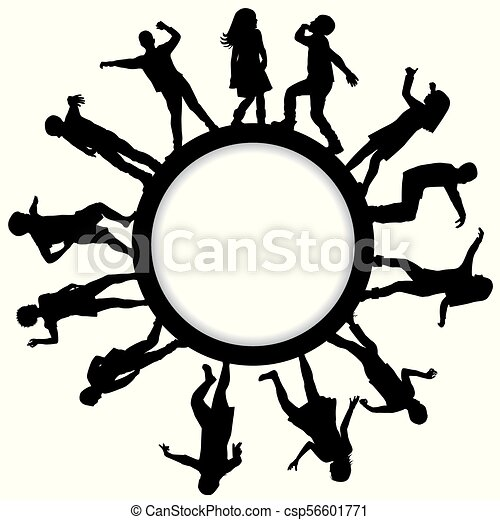 Circle frames with children silhouettes dancing - csp56601771